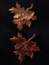 Three leaf pattern with the top left natural and the bottom leaves enhanced